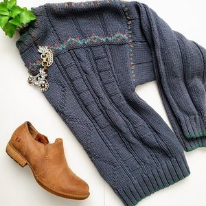 Vintage Lizwear Blue Slouchy Cable Knit Sweater M